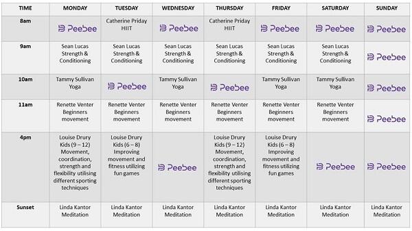 peebee schedule